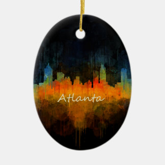Atlanta City Watercolor Skyline v4 Dark Ceramic Oval Ornament