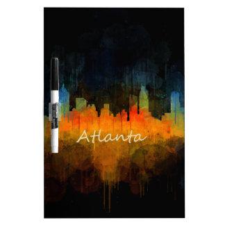 Atlanta City Watercolor Skyline v4 Dark Dry Erase Boards
