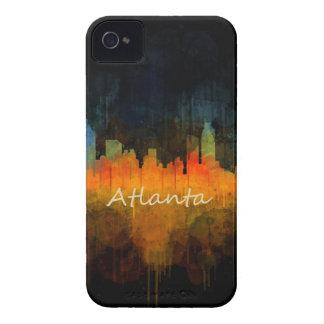 Atlanta City Watercolor Skyline v4 Dark iPhone 4 Case-Mate Case