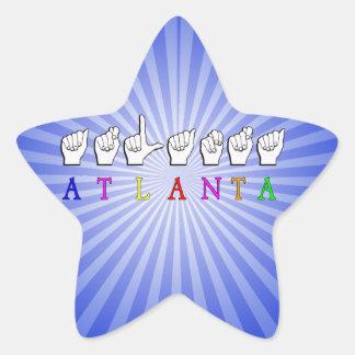 ATLANTA FINGERSPELLED ASL STAR STICKER