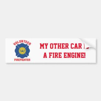 Atlanta, GA Flag Volunteer Firefighter Cross Bumper Sticker