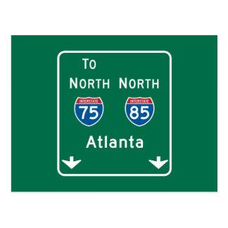 Atlanta, GA Road Sign Postcard