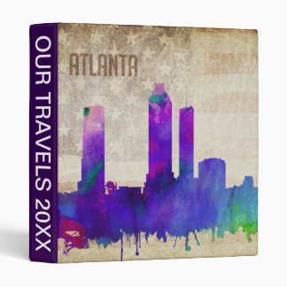 Atlanta, GA | Watercolor City Skyline 3 Ring Binder