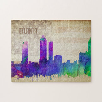 Atlanta, GA | Watercolor City Skyline Jigsaw Puzzle