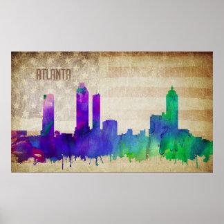 Atlanta, GA   Watercolor City Skyline Poster