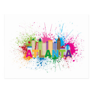 Atlanta Georgia Abstract Skyline Illustration Postcard