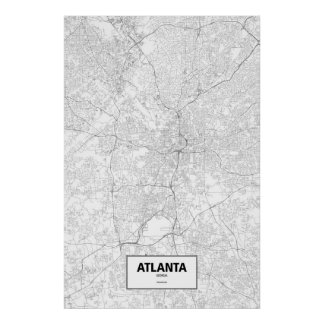 Atlanta, Georgia (black on white) Poster