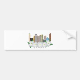 Atlanta Georgia City Skyline with Dogwood Bumper Sticker