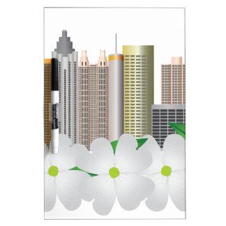 Atlanta Georgia City Skyline with Dogwood Dry Erase Board