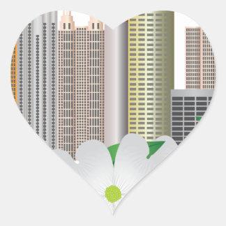 Atlanta Georgia City Skyline with Dogwood Heart Sticker