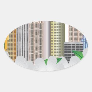 Atlanta Georgia City Skyline with Dogwood Oval Sticker