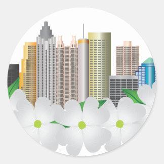 Atlanta Georgia City Skyline with Dogwood Round Sticker