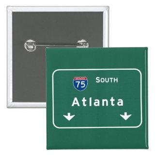 Atlanta Georgia ga Interstate Highway Freeway : 2 Inch Square Button