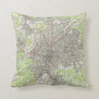 Atlanta Georgia Map (1981) Throw Pillow