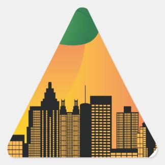 Atlanta Georgia Night Skyline Inside Peach Triangle Sticker