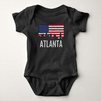 Atlanta Georgia Skyline American Flag Distressed Baby Bodysuit
