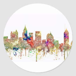 Atlanta Georgia Skyline SG-Faded Glory Classic Round Sticker