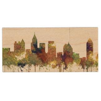Atlanta Georgia Skyline SG-Safari Buff Wood USB Flash Drive