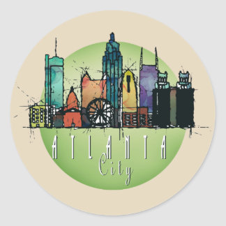 Atlanta green skyline round sticker