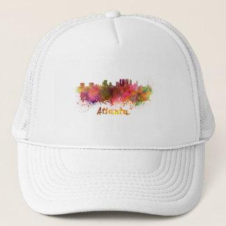 Atlanta skyline in watercolor trucker hat