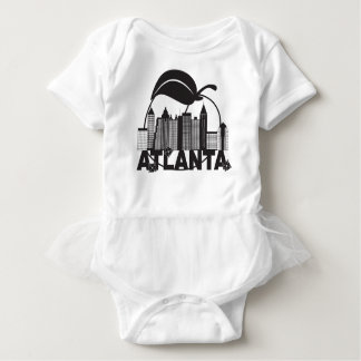 Atlanta Skyline Peach Dogwood Black White Text Baby Bodysuit