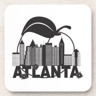 Atlanta Skyline Peach Dogwood Black White Text Coaster