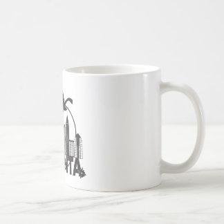 Atlanta Skyline Peach Dogwood Black White Text Coffee Mug