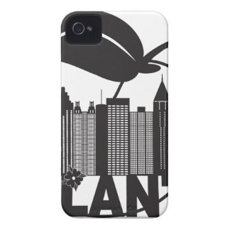 Atlanta Skyline Peach Dogwood Black White Text iPhone 4 Case-Mate Case