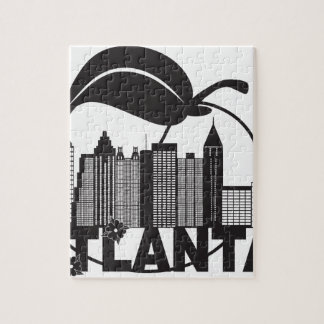 Atlanta Skyline Peach Dogwood Black White Text Jigsaw Puzzle