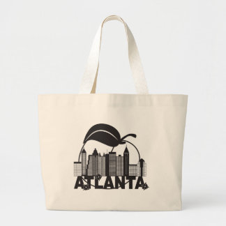 Atlanta Skyline Peach Dogwood Black White Text Large Tote Bag
