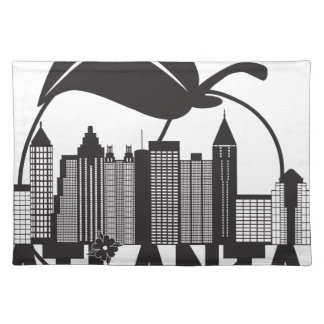 Atlanta Skyline Peach Dogwood Black White Text Placemat