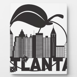 Atlanta Skyline Peach Dogwood Black White Text Plaque