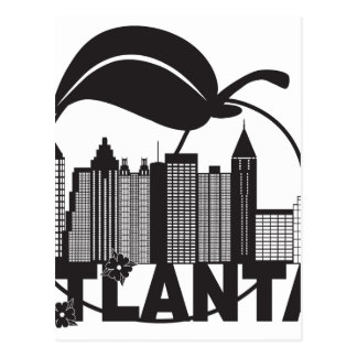 Atlanta Skyline Peach Dogwood Black White Text Postcard