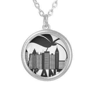 Atlanta Skyline Peach Dogwood Black White Text Silver Plated Necklace