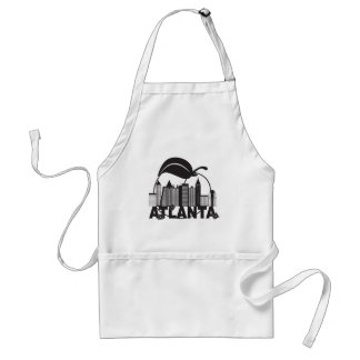 Atlanta Skyline Peach Dogwood Black White Text Standard Apron