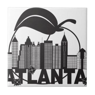 Atlanta Skyline Peach Dogwood Black White Text Tile