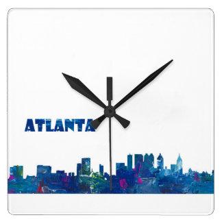 Atlanta Skyline Silhouette Square Wall Clock