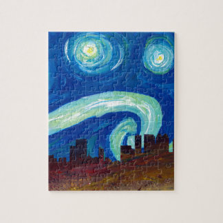 Atlanta Skyline Silhouette with Starry Night Jigsaw Puzzle