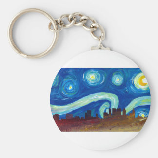 Atlanta Skyline Silhouette with Starry Night Keychain