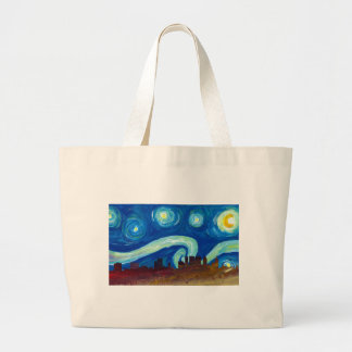 Atlanta Skyline Silhouette with Starry Night Large Tote Bag