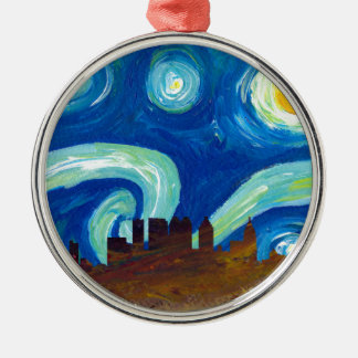 Atlanta Skyline Silhouette with Starry Night Metal Ornament