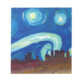 Atlanta Skyline Silhouette with Starry Night Notepad