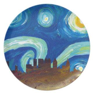 Atlanta Skyline Silhouette with Starry Night Plate