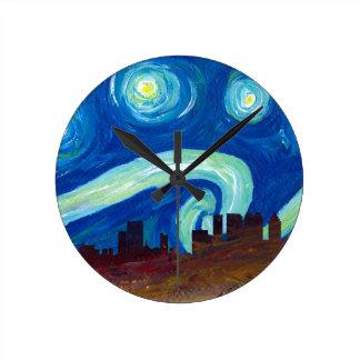 Atlanta Skyline Silhouette with Starry Night Round Clock