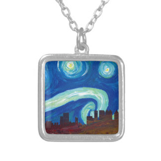 Atlanta Skyline Silhouette with Starry Night Silver Plated Necklace