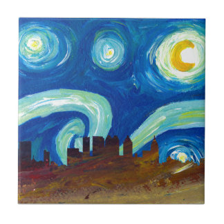 Atlanta Skyline Silhouette with Starry Night Tile