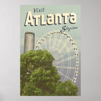 Atlanta Skyview Ferris Wheel Vintage Travel Poster