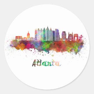 Atlanta V2 skyline in watercolor Classic Round Sticker