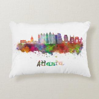 Atlanta V2 skyline in watercolor Decorative Pillow