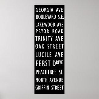 Atlanta Vintage Transit Scroll Poster